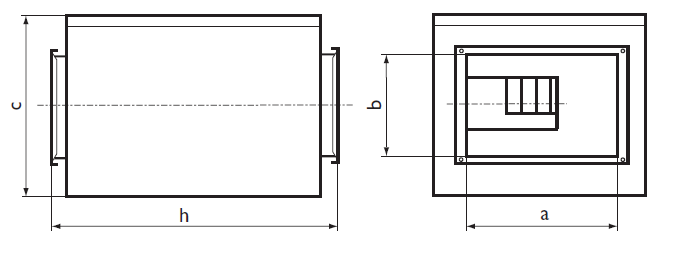 Размеры шумоизолированного вентилятора Ostberg IRE 50х30